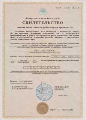 Свидетельство о внесении записи в реестр юридических лиц и лицензия на деятельность, полученные в 2011 году